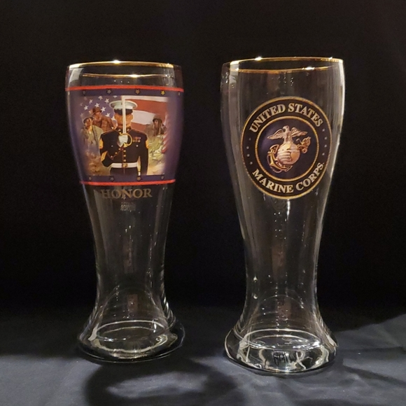 A Pair of Bradford Exchange Marine 16oz Glasses